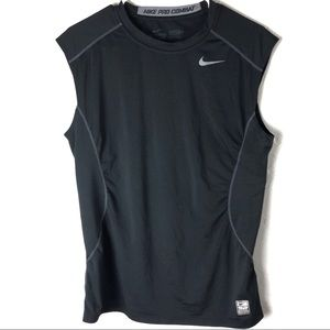 Nike Combat Pro Fitted Black Tank Top Tee Medium